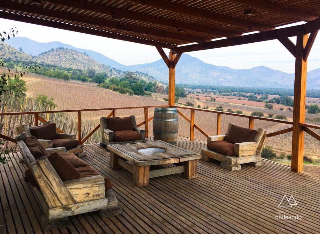 O aconchegante mirante da vinícola El Principal, na região de Santiago