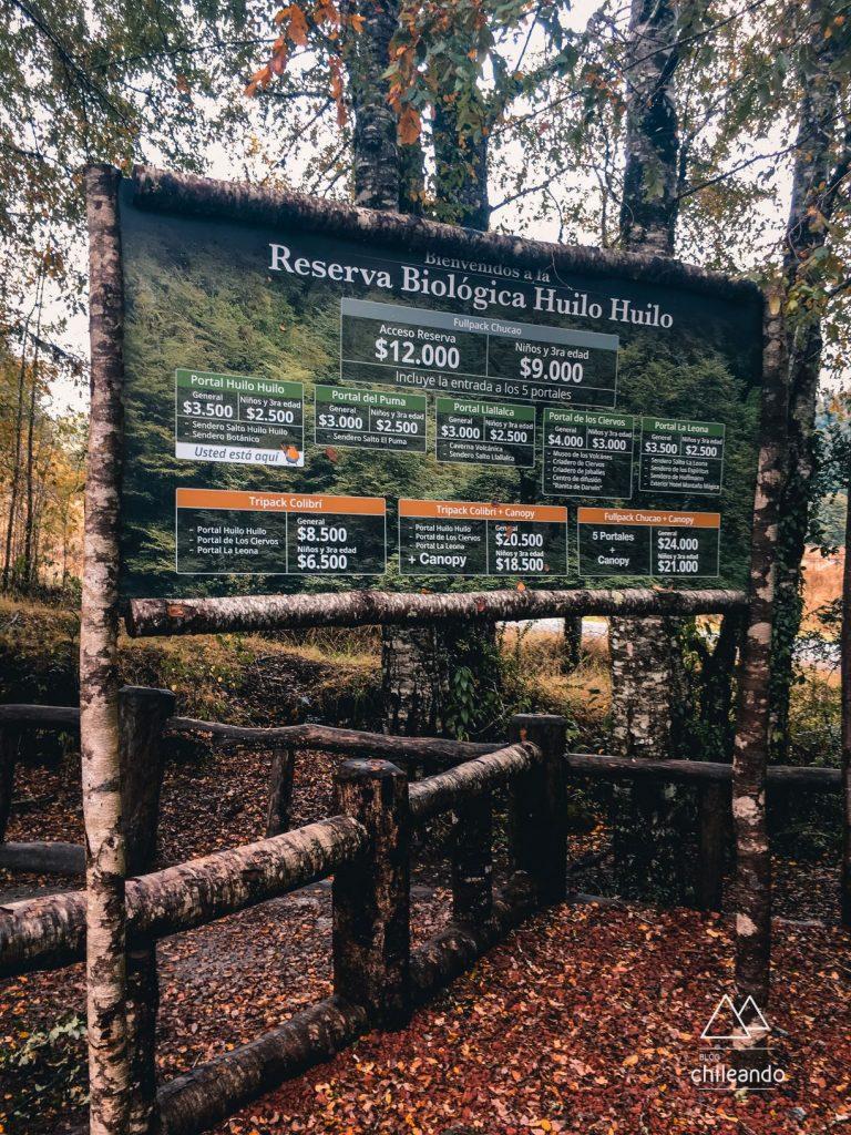 Valores de entrada em cada setor da reserva Huilo Huilo