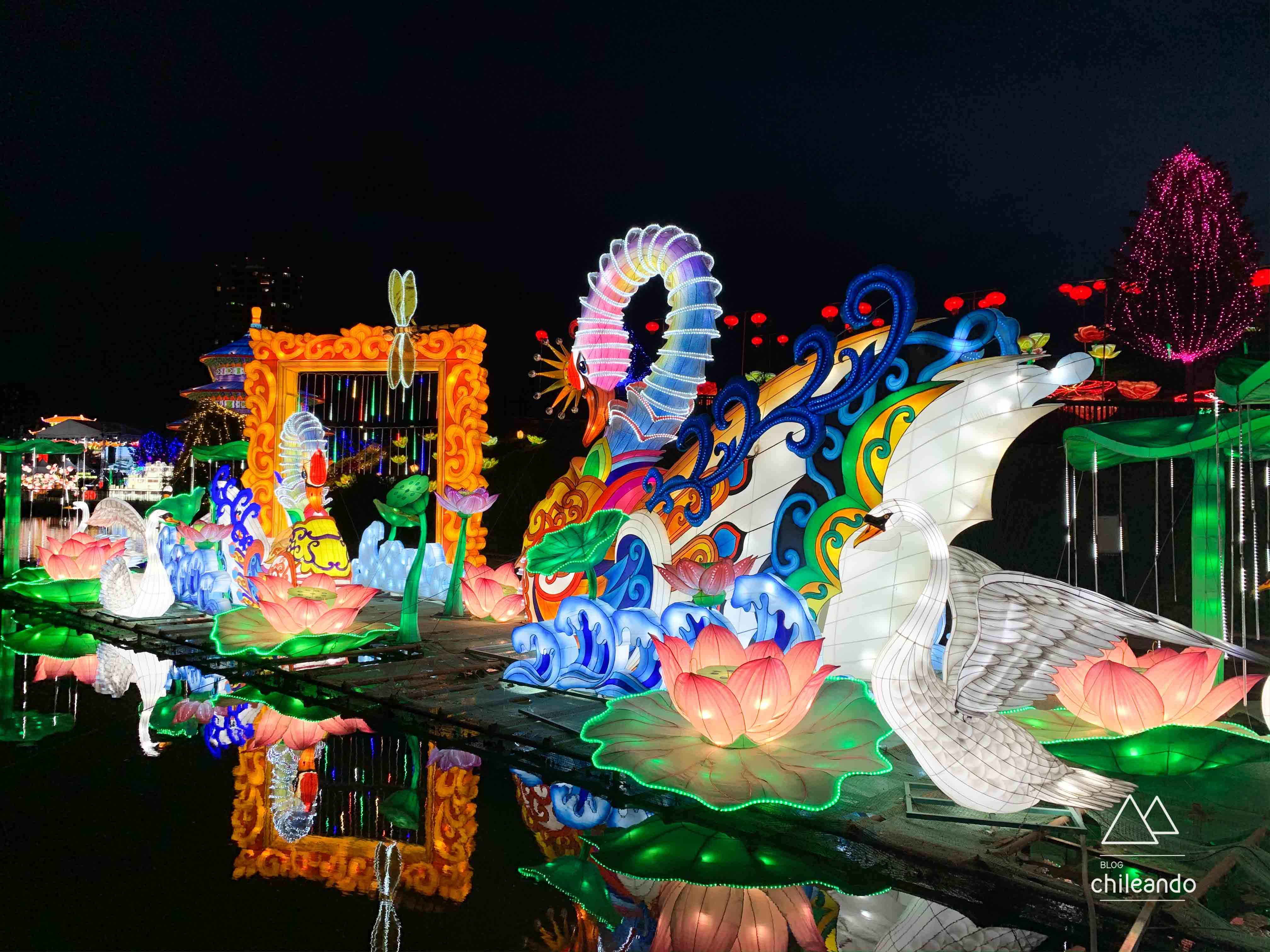Festival de Luzes da China em Santiago funciona todos os dias