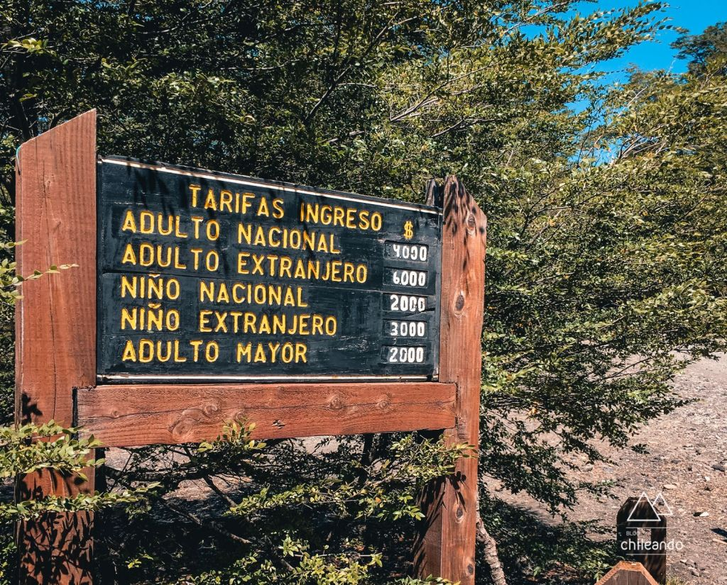 Tarifas para entrada no Parque Conguillío