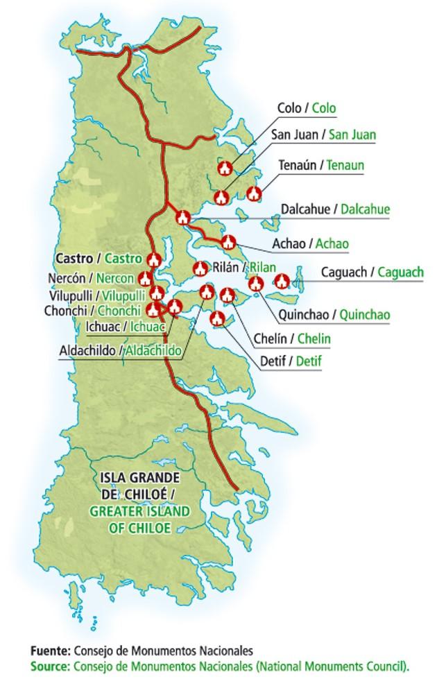 Mapa da rota das Igrejas Patrimoniais em Chiloé