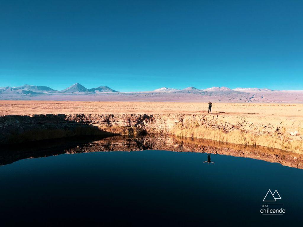 Os Ojos del Salar são cenotes de água de doce, no Atacama