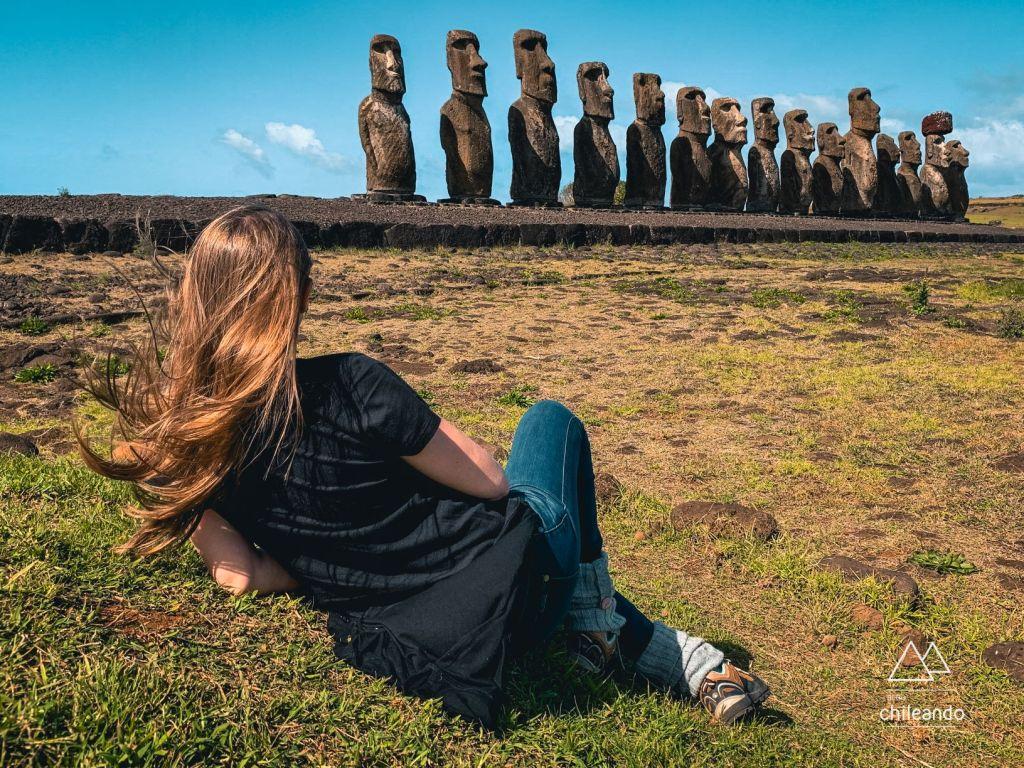 De todas as plataformas, essa é a mais impactante, pela quantidade e tamanho dos Moai