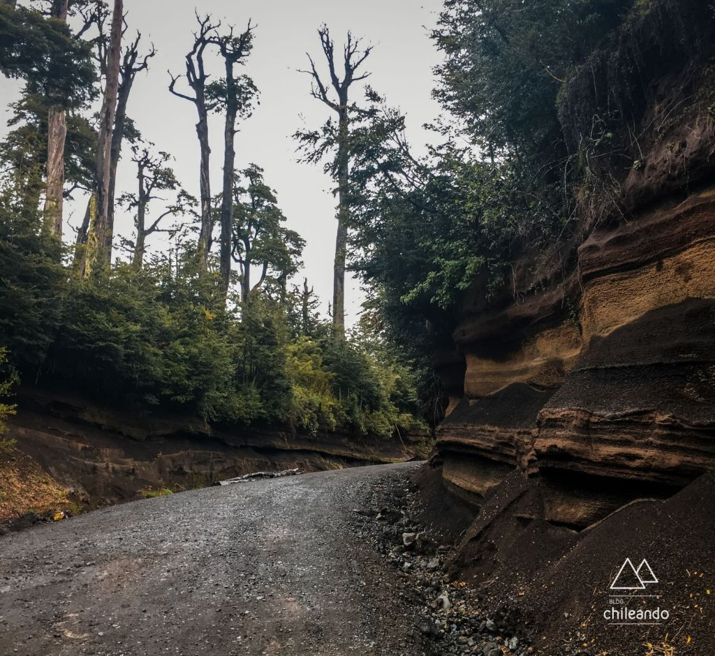 Acesso viário do Parque Villarrica, próximo a Pucón