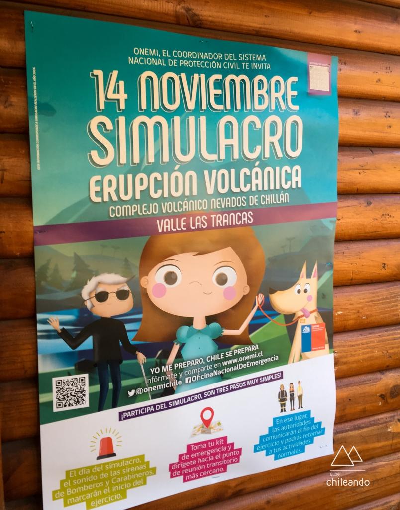 Cartaz de simulação para evacuação em situação de risco de atividade vulcânica