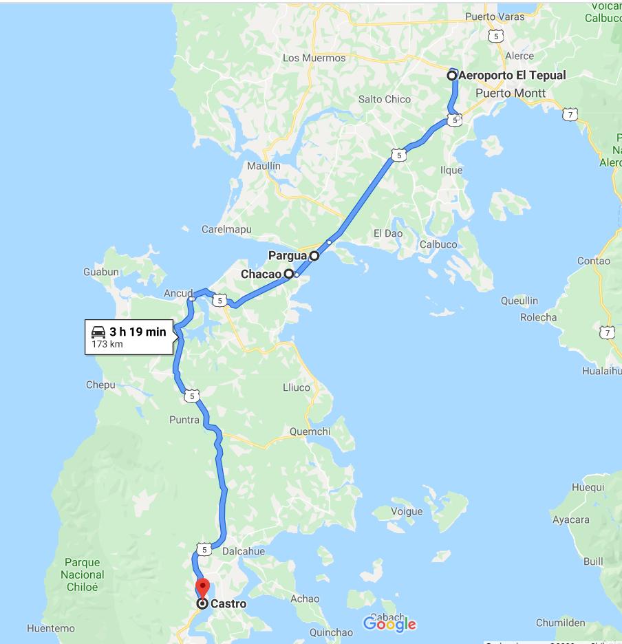 Trajeto de Puerto Montt até Casto, na Isla Grande de Chiloé