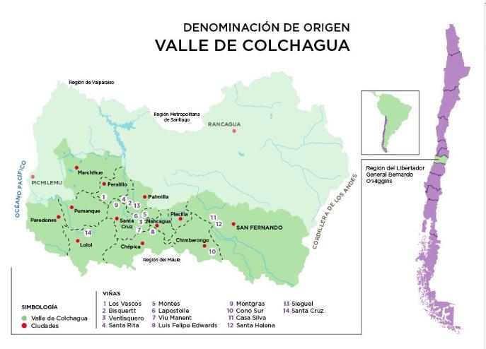 Mapa do valle de colchagua