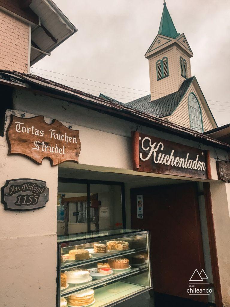 A sobremesa kuchen é vendida em Frutillar
