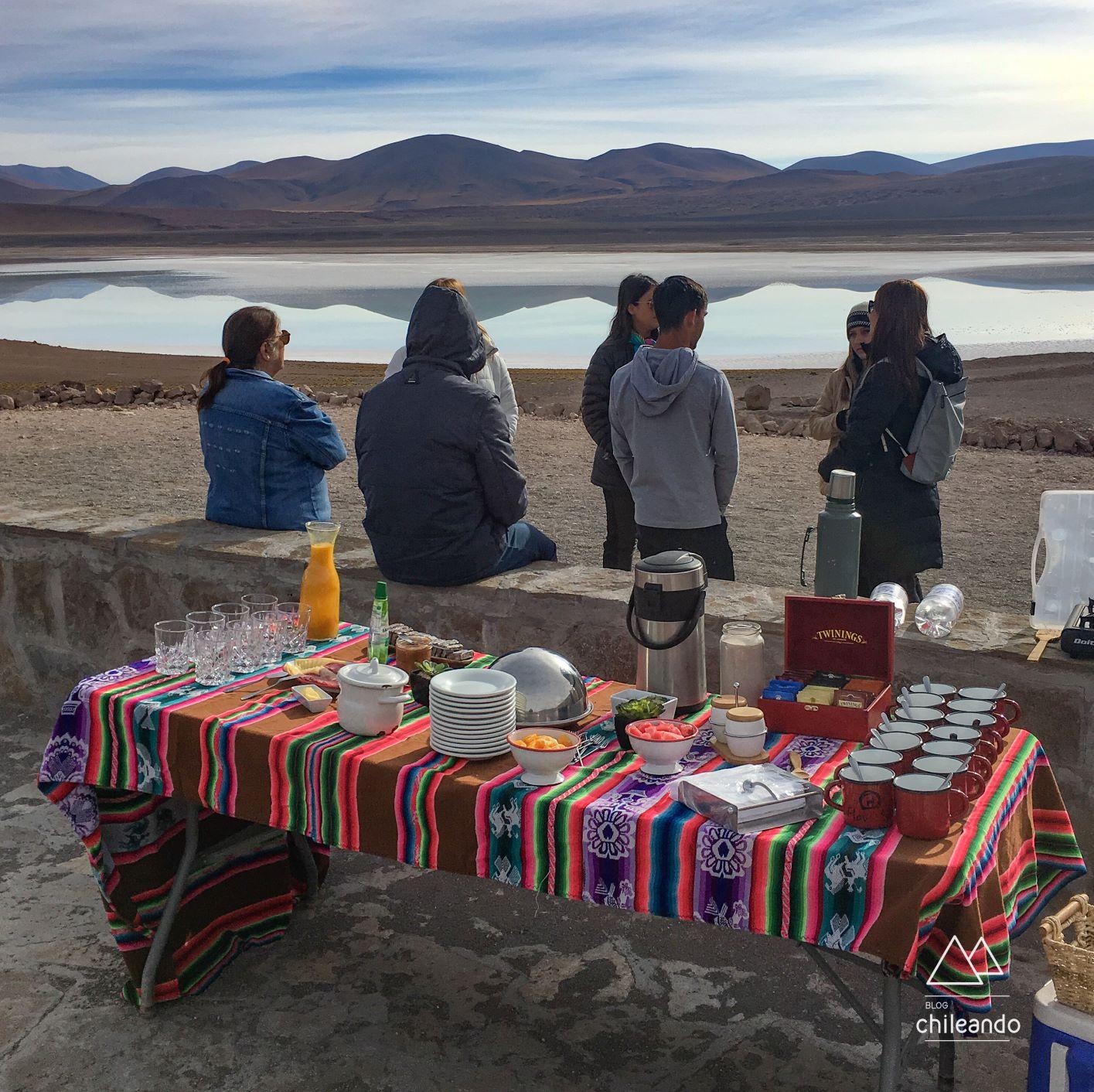Café da manhã do passeio às lagoas Altiplanicas