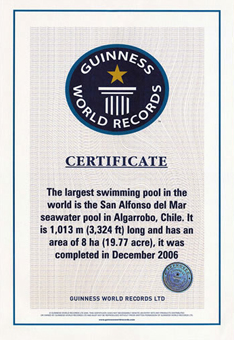 Certificado Guinness recebido em 2006