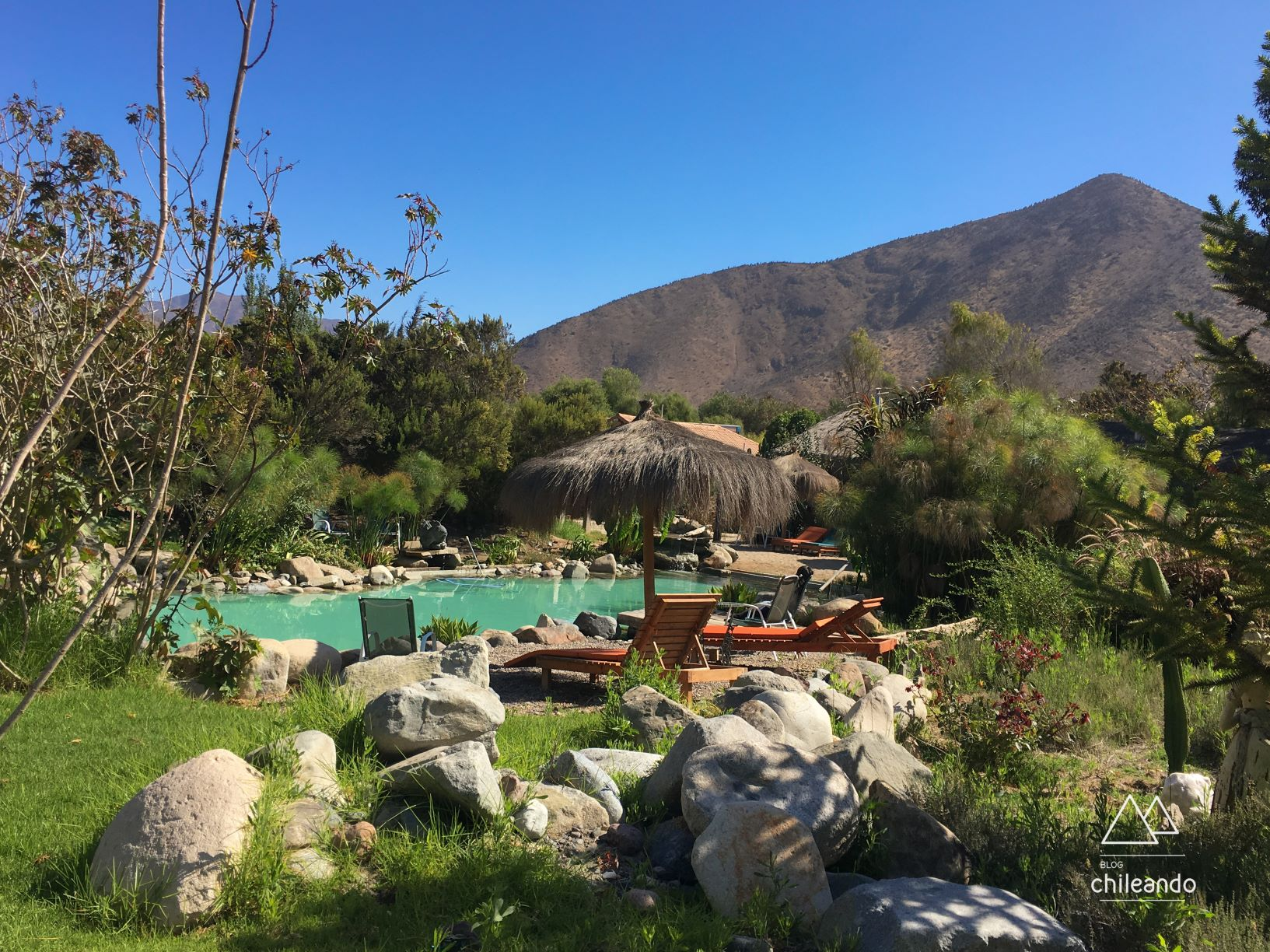 Área da piscina natural do Refúgio El Molle