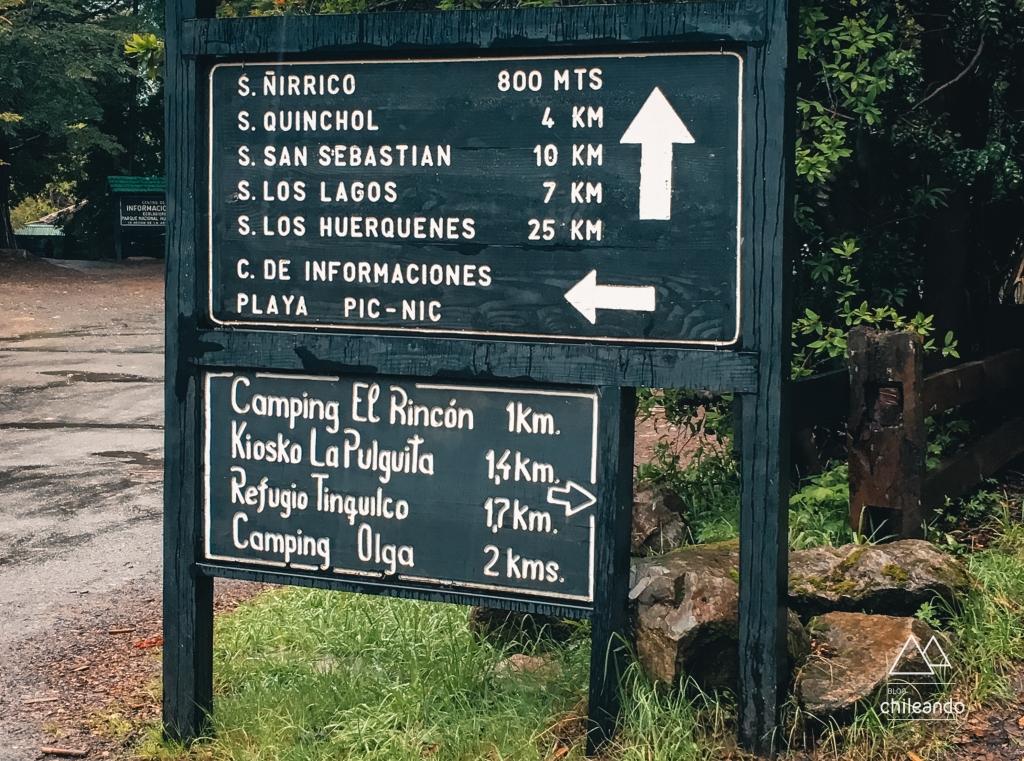 As trilhas e serviços do Huerquehue