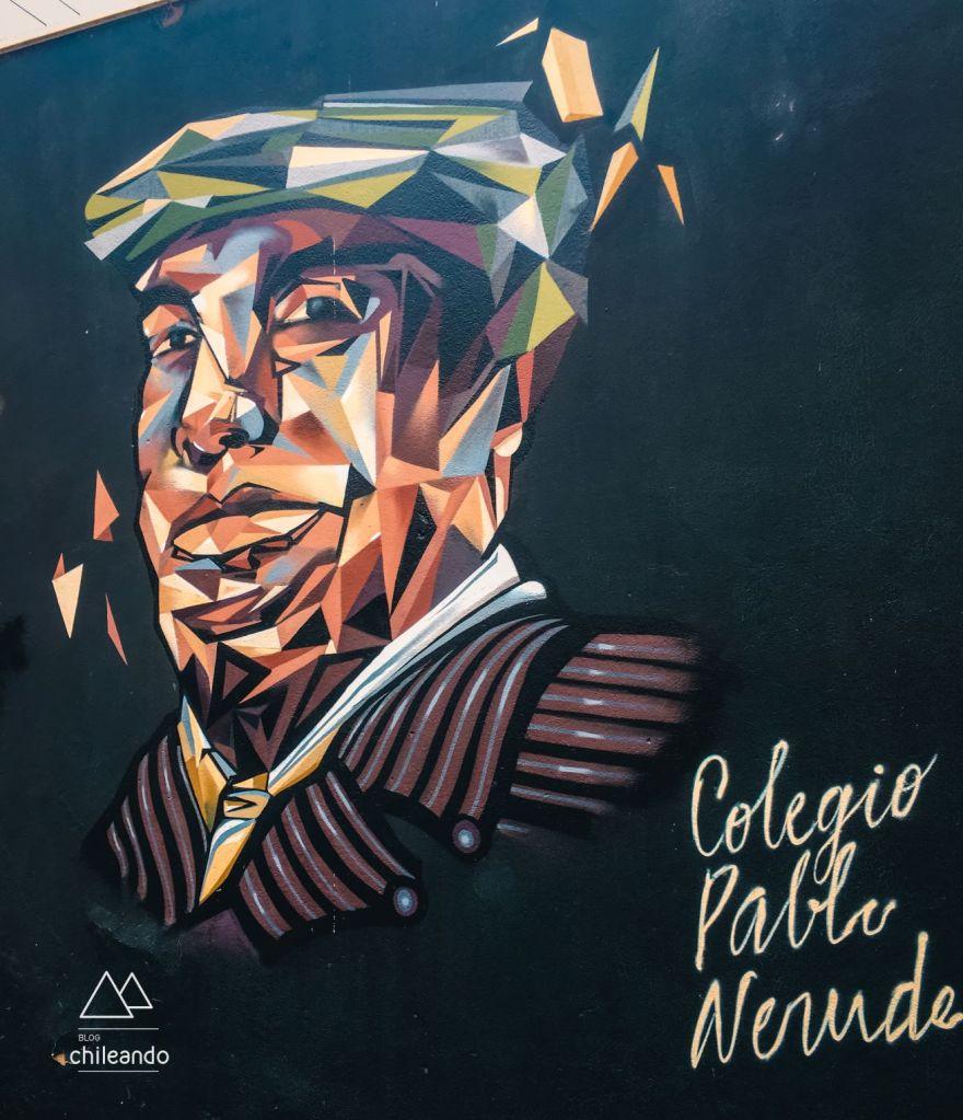 Painel de rua Neruda em Valparaíso