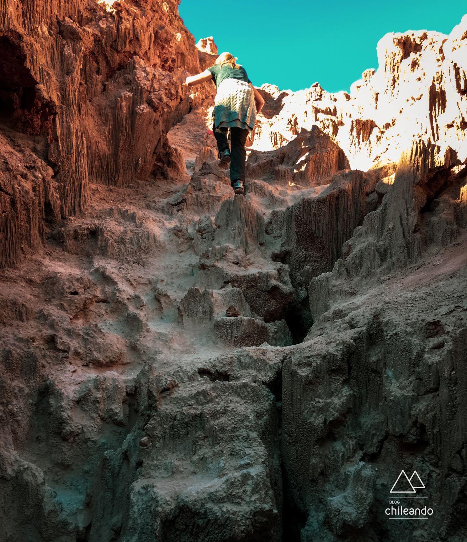 Miniescalada no Valle de la Luna, no Atacama